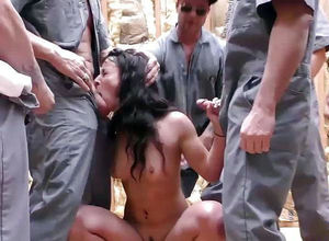 Kinky group-fucked on a construction..