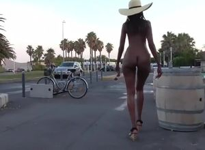 Ebony backside public ambling