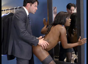 Ebony doll store worker penetrates..