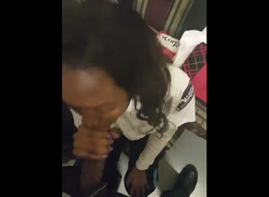 Ebony lady getting head at work.
